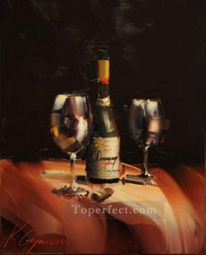 Artworks in 150 Subjects Painting - Wine in black KG textured