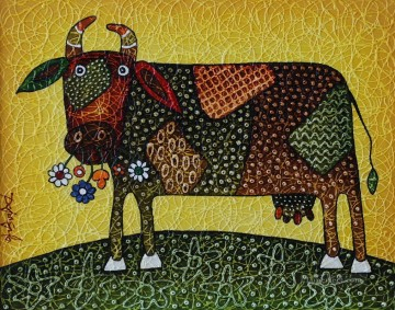 Textured Painting - gesso cow with texture