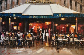 Textured Painting - KG Les Deux Magots Paris by Knife Textured