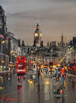 London Art - KG Whitehall London by Knife Textured