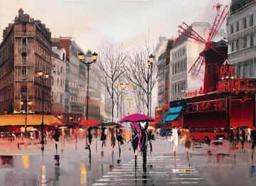 Ambiance of the Moulin Rouge KG textured Oil Paintings