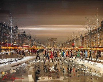 KG Champs elysees traffic by Knife Textured Oil Paintings