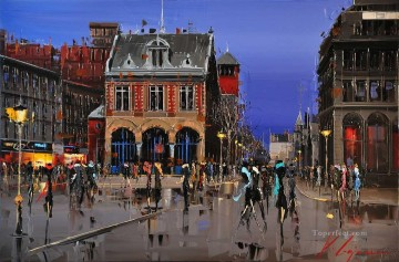 Textured Painting - KG Place d Youville Montreal by Knife Textured