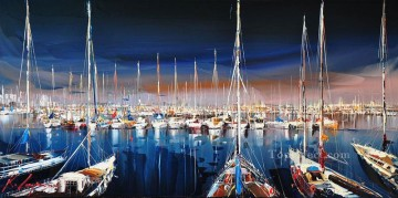Artworks in 150 Subjects Painting - boats in wharf KG textured