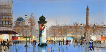 Textured Painting - KG Place de la Bastille by Knife Textured
