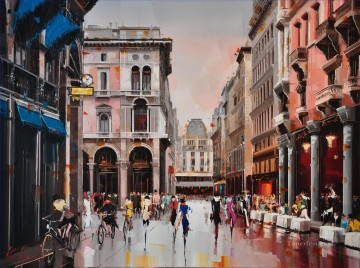 Milano Fashion capital KG textured Oil Paintings