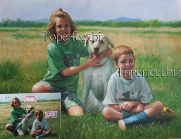 Examples of Portrait Painting - imd022 portrait of children and pet