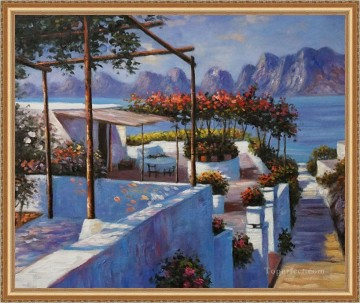 Discounted Painting - Mediterranean Sea Scenery Landscape Seaside Beach 20x24 Inches Framed USD115