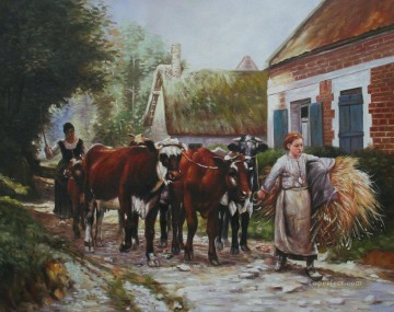 Returning From The Fields by Julien Dupre 53x43cm USD30 Oil Paintings