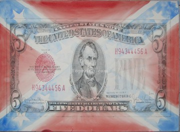 US dollars cash gouache pencil 2 Oil Paintings
