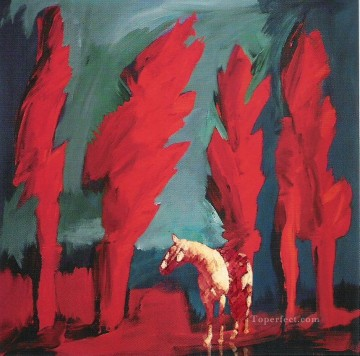 Original Cowboy Western Art Painting - horse in red western original