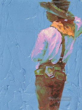 cattle bull cow Painting - back of cowboy western original