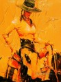 red cowgirl with thick paints western original