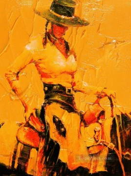 red cowgirl with thick paints western original Oil Paintings