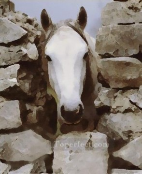 Toperfect Originals Painting - white horse western original