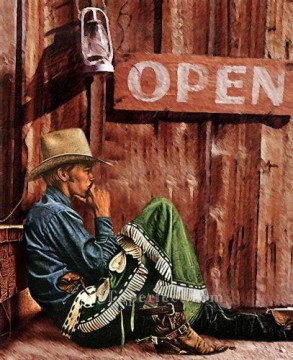 contemplating cowboy western original Oil Paintings
