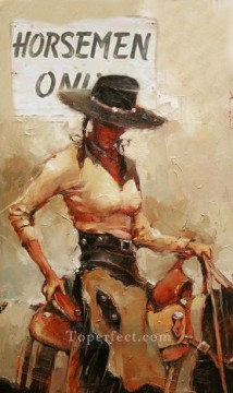 cattle bull cow Painting - cowgirl and horseman only western original