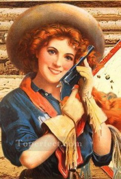 cattle bull cow Painting - model cowgirl western original