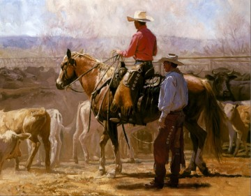Original Cowboy Western Art Painting - cowboys and their cattles at farm western original