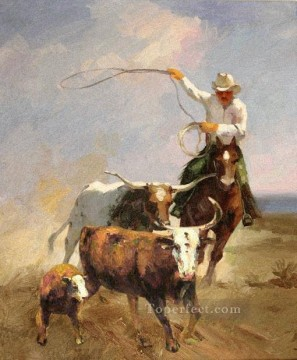 Original Cowboy Western Art Painting - the cowheards and 3 cattles western original