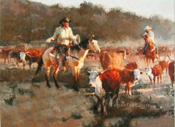 Original Cowboy Western Art Painting - cowheards on grassland western original