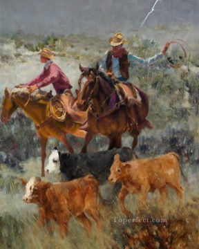 Original Cowboy Western Art Painting - cowherds western original