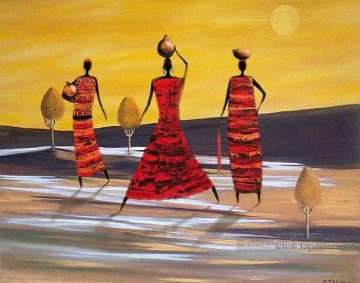 women Painting - Black women in landscape original abstract
