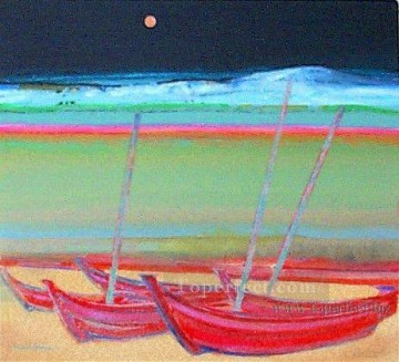 Toperfect Originals Painting - Boat under moon original abstract
