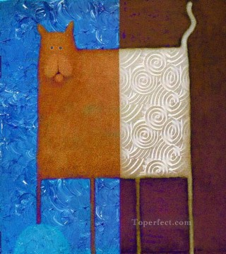 cat cats Painting - Cat on blue thick paints original abstract