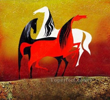 Toperfect Originals Painting - Decor acrylic horse and steel sands original abstract