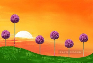 Toperfect Originals Painting - Trees and sunset original abstract