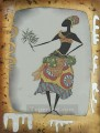 black woman feeding snake wall decor original