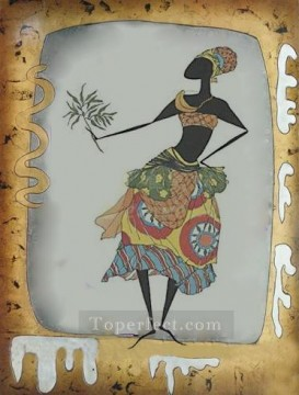 Toperfect Originals Painting - black woman feeding snake wall decor original