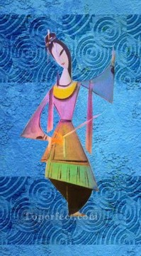 Toperfect Originals Painting - chinese girl with sword wall decor original