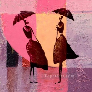 Toperfect Originals Painting - girls under umbrella wall decor original