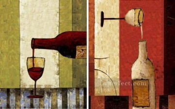 wine pub pubs folies bars nighthawks Painting - wine 2 sections original decorated