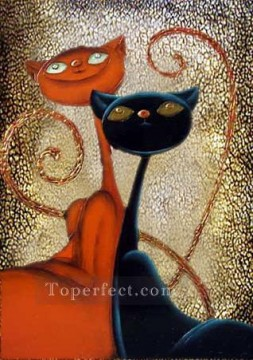 Toperfect Originals Painting - Decor cats original abstract
