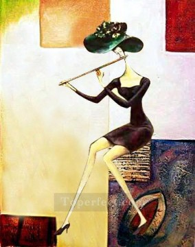 Lute Art - lady with flute original decorated