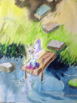 Toperfect Originals Painting - A fairy is fishing fairy original