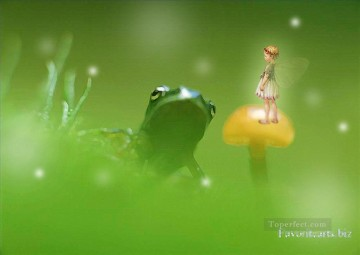 Toperfect Originals Painting - Fairy and frog fairy original