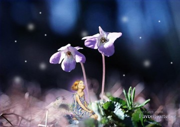 Toperfect Originals Painting - Fairy talking with flowers fairy original