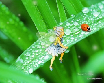 Toperfect Originals Painting - Fairy watching ladybug fairy original