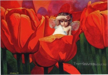 Toperfect Originals Painting - Little fairy in red flowers fairy original