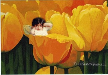 Toperfect Originals Painting - Little fairy in yellow flowers fairy original