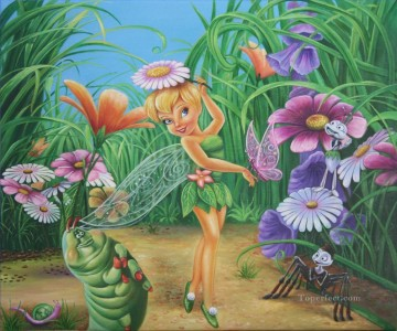 Toperfect Originals Painting - Fairy Tinkerbell and Her Friends Butterfly Ant Spider Caterpillar