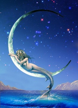 mermaid Painting - mermaid in silver moon nude original