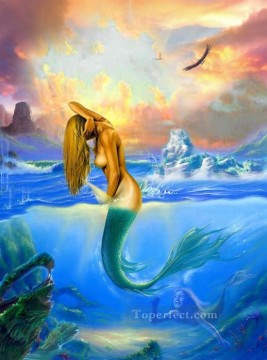 mermaid Painting - mermaid seaside nude original