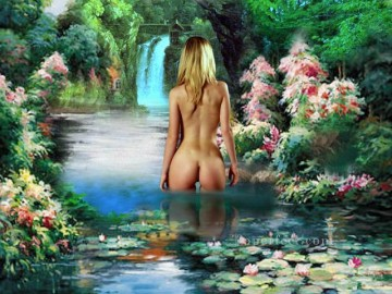 nude Painting - blond nude in floral pond nude original