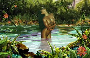nude Painting - brown nude standing in virgin river nude original