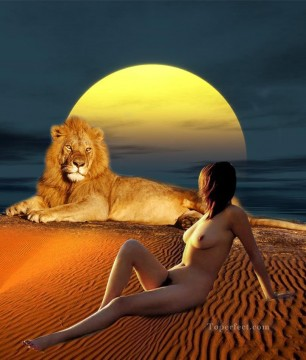 lion and beauty nude original Oil Paintings